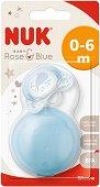 Залъгалка от силикон с ортодонтична форма - Rose & Blue - Комплект с кутийка за бебета от 0+ до 6 месеца -