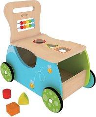 Дървена количка за бутане - Детска играчка с форми за сортиране - играчка