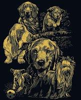 Кучета - Скреч картина с размери 20 x 25 cm