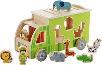 Камионче - Сафари - Детска дървена играчка за сортиране -