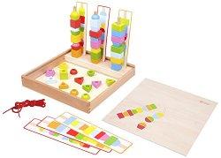 Геометрични фигури - Дървена играчка за сортиране и нанизване -