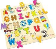 Английската азбука - Детски дървен образователен пъзел -
