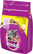 Whiskas Dry Chicken Junior 2 - 12 months - Суха храна с пилешко месо за котета на възраст от 2 ÷ 12 месеца - чували от 300 g и 14 kg - продукт