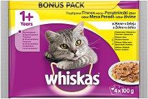 Whiskas Pouch Poultry Selection in Jelly 1+ Years - Четири вида птиче месо в желе за котки на възраст над 1 година - пауч 100 g в опаковки от 4 и 12 броя - продукт