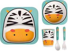 Детски комплект за хранене - Eco Friendly Bamboo - За бебета над 6 месеца - залъгалка