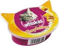 Whiskas Temptations with Chicken & Cheese - Лакомство с пилешко месо и сирене за котки на възраст над 1 година - опаковка от 60 g -