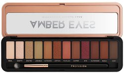 Profusion Cosmetics Amber Eyes Eyeshadow Makeup Case - Палитра с 12 цвята сенки за очи и четка - продукт