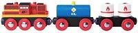Товарен влак с дизелов локомотив - Детска дървена играчка -