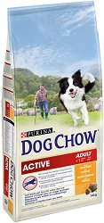 Dog Chow with Chicken Active Adult - Суха храна с пилешко месо за кучета с голяма физическа активност на възраст над 1 година - чувал от 14 kg -