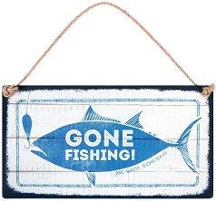 Табелка - поздравителна картичка Gone Fishing. Be back someday -