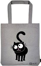 Текстилна чанта за книги - Любопитното коте -
