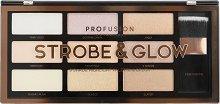 "Profusion Cosmetics Artistry Collection Strobe & Glow - Стробинг палитра за лице с четка от серията ""Artistry Collection"" - гланц"