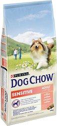 Dog Chow with Salmon Sensitive Adult 1+ Years - Суха храна със сьомга за кучета с чувствителни кожа и храносмилане в зряла възраст над 1 година - чувал от 14 kg -