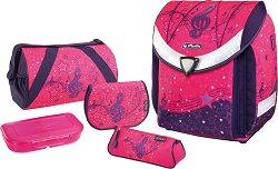 Ергономична ученическа раница - Flexy Plus: Melody - Комплект с 2 несесера, спортен сак и кутия за храна -