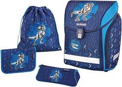 Ергономична ученическа раница - Midi Plus: Blue Dino - Комплект с 2 несесера и спортна торба - раница