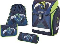 Ергономична ученическа раница - Midi Plus: Green Robo Dragon - Комплект с 2 несесера и спортна торба - продукт
