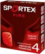 Sportex Fire Embossed Ribs Condoms - Оребрени презервативи в опаковки от 4 и 6 броя -