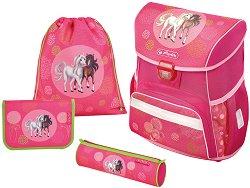 Ергономична ученическа раница - Loop Plus: Spring Horses - Комплект с 2 несесера и спортна торба -