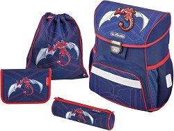 Ергономична ученическа раница - Loop Plus: Red Robo Dragon - Комплект с 2 несесера и спортна торба - продукт