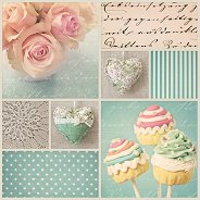 Салфетки за декупаж - Рози и сладкиши - Пакет от 20 броя