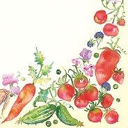 Салфетки за декупаж - Рисувани зеленчуци - Пакет от 20 броя
