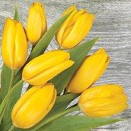 Салфетки за декупаж - Жълти лалета - Пакет от 20 броя