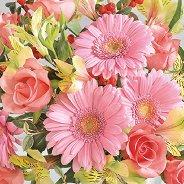 Салфетки за декупаж - Розови цветя - Пакет от 20 броя