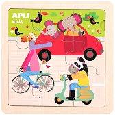 Животни на превозни средства - Детски дървен пъзел с едри елементи -