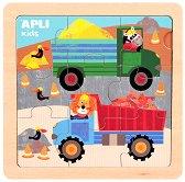 Животни с тежкотоварни камиони - Детски дървен пъзел с едри елементи - пъзел