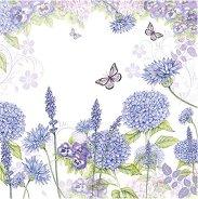 Салфетки за декупаж - Лилави цветя - Пакет от 20 броя