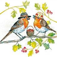 Салфетки за декупаж - Птици с шапки - Пакет от 20 броя