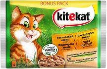 Kitekat Pouch Farm Menu in Gravy - Фермерско меню в сос грейви за котки в зряла възраст - опаковка от 4 пауча x 100 g -