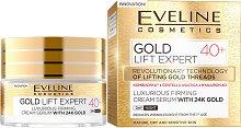 """Eveline Gold Lift Expert 40+ Cream Serum with 24K Gold - Стягащ дневен и нощен крем-серум за лице със златни частици от серията """"Gold Lift Expert"""" - продукт"""