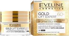 """Eveline Gold Lift Expert 60+ Cream Serum with 24K Gold  - Подмладяващ дневен и нощен крем-серум за лице със златни частици от серията """"Gold Lift Expert"""" -"""