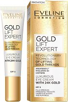 """Eveline Gold Lift Expert Eye Cream with 24K Gold - SPF 8 - Околоочен крем против бръчки със злато от серията """"Gold Lift Expert"""" -"""
