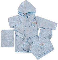 Бебешки комплект за къпане - TUTU - С халат, хавлия, кърпа за лице и ръкавица за баня - залъгалка