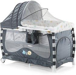 Сгъваемо бебешко легло на две нива - Casida 2018 - Комплект с люлеещ механизъм и аксесоари -