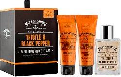 """Scottish Fine Soaps Thistle & Black Pepper Well Groomed Gift Set - Подаръчен козметичен комплект за мъже от серията """"Men's Grooming"""" -"""