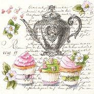 Салфетки за декупаж - Чайник и къпкейкове - Пакет от 20 броя