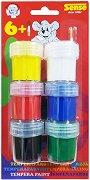 Темперни бои - Комплект от 6 цвята с четка