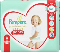 Pampers Premium Care Pants 6 - Extra Large - Гащички за еднократна употреба за бебета с тегло над 15 kg - биберон