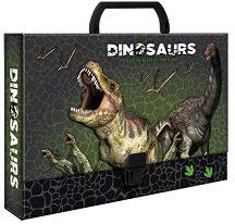 Кутия със закопчалка и дръжка - Динозаври - Размери 33 x 24 cm
