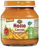 Holle - Био пюре от моркови - Бурканче от 125 g за бебета над 4 месеца - пюре