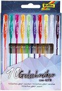 Цветни гел химикалки с брокат - Комплект от 10 цвята