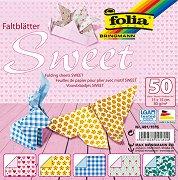 Хартия за оригами - Sweet - Комплект от 50 листа с размер 15 х 15 cm