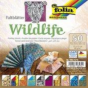 Хартия за оригами - Дива природа - Комплект от 50 листа с размер 15 х 15 cm