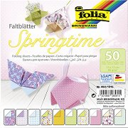 Хартия за оригами - Пролет - Комплект от 50 листа с размер 15 х 15 cm