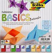Хартия за оригами - Basic Intensiv - Комплект от 50 листа с размер 15 х 15 cm