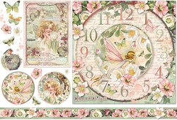 Декупажна хартия - Часовник и феи - Размери 50 x 35 cm