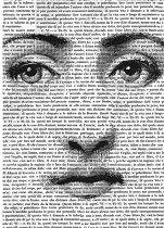 Декупажна хартия - Лице върху думи - Формат А4